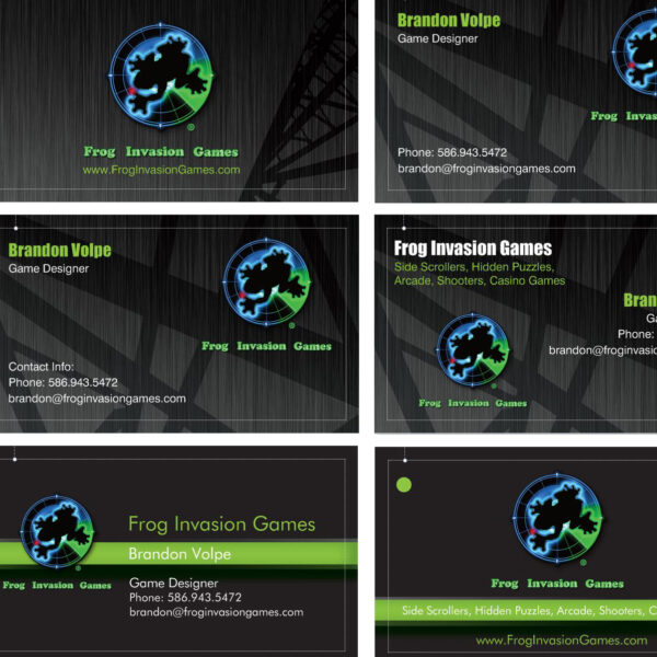 Frog Invasion Games Business Card Designs