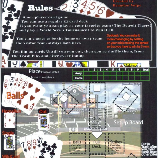 Baseball Solitaire Card Game Flyer