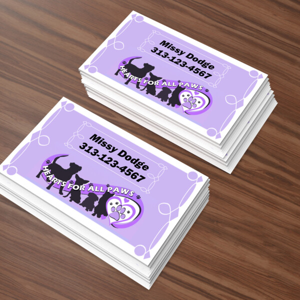 """Hearts For All Paws"" Animal Rescue Business Card Designs"